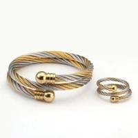 luxury stainless steel braided open men women charm cuff bracelets set trendy chain link sporty wrap bracelets bangles