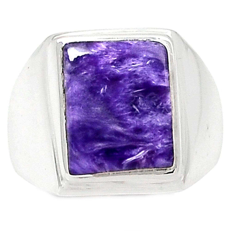 Lovegem genuine charoite anel 925 prata esterlina, tamanho 6.25, ar3167