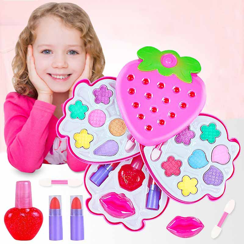 Safe Non-toxic Children's Cosmetics Set DIY Makeup Pretend Play Toys Princess Girls Make Up Games Kids Nail Polish Lipstick Kit