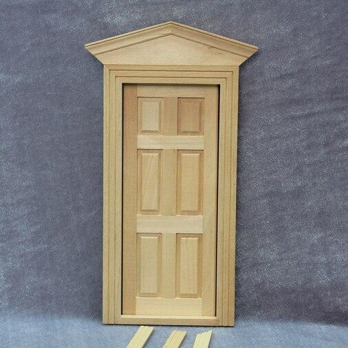 Casa de muñecas en miniatura para Interior, 6 puertas cuadrada con marco y tapa triangular para decoración de muñecas en casa 112