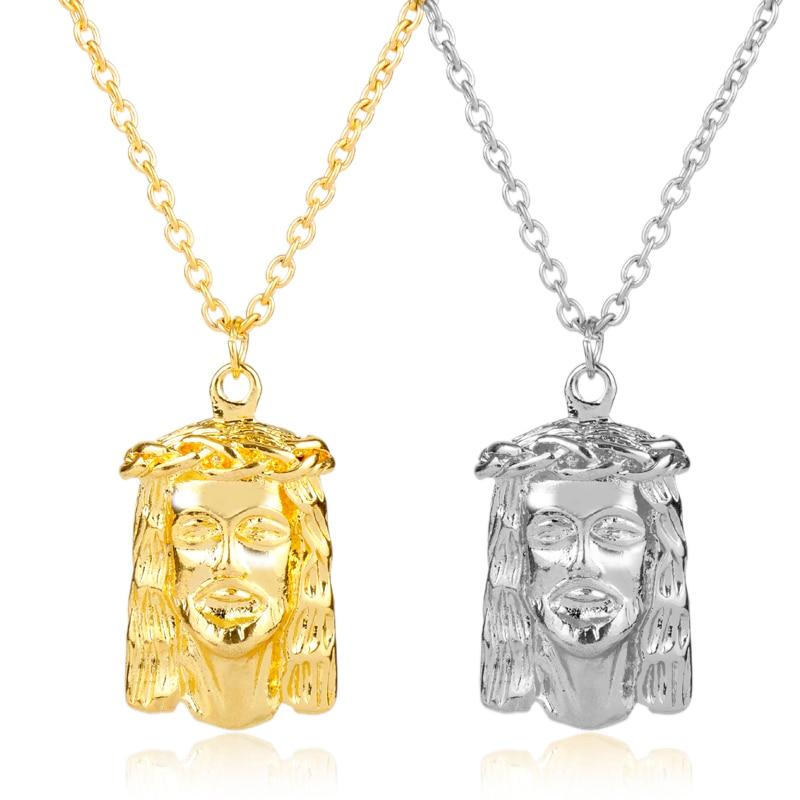 Collares con pieza de Jesús dorada, abalorios de adorno dorado, colgantes de joyería, raperos, Collier, gran Jesús, collar llamativo para Mens-30