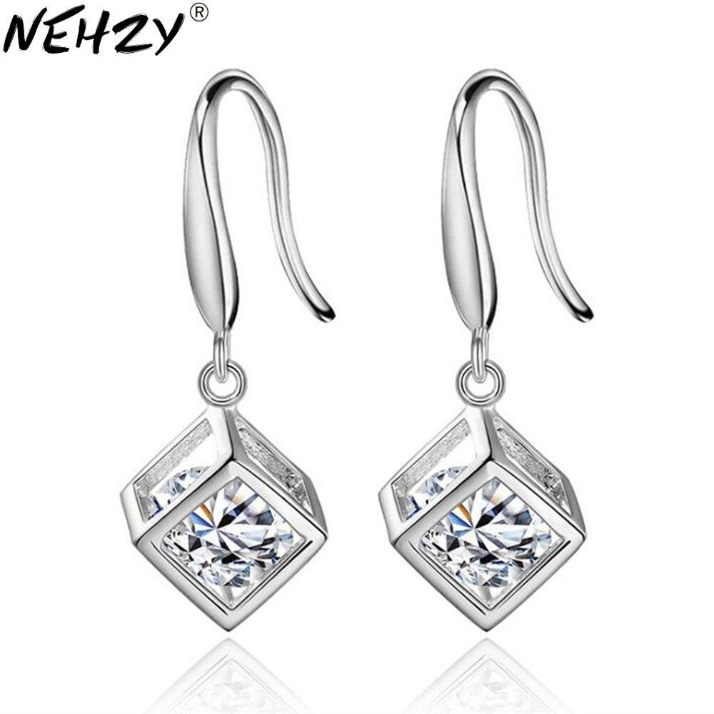 Marca cubo selvagem borla gota brincos janela no amor brincos modelos femininos moda jóias de prata ornamentos de cristal luxo