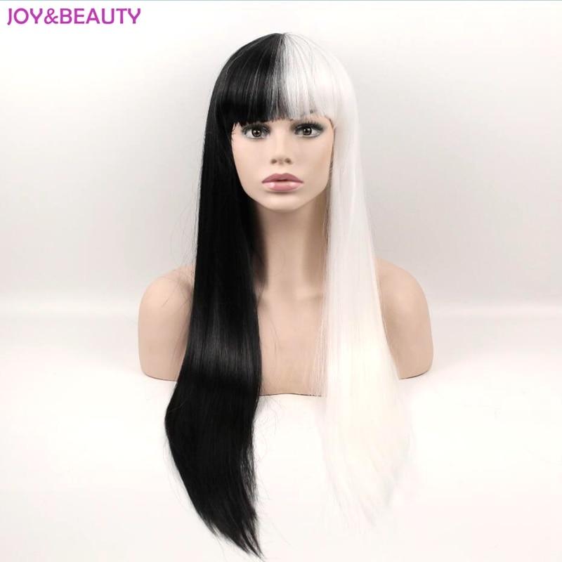 Черно-белые длинные прямые парики JOY & BEAUTY, синтетические волосы, высокотемпературные волосы, парик для косплея, женский парик 24 дюйма