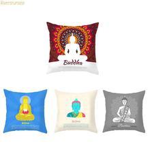 Buddha Pillow Cover Decoracion Zen Manjushri Lotus Bamboo Buddhist Meditation Cushion Case For Sofa Chair Home Accessories