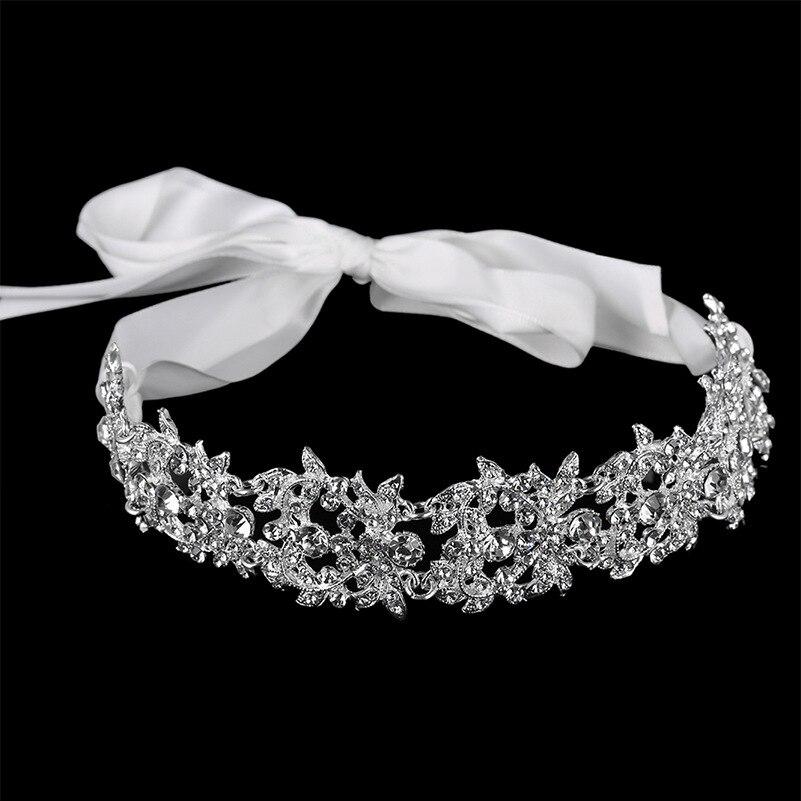 Cinta de flores de cristal hecha a mano, diadema nupcial, Tiara, corona plateada, accesorios para el cabello de boda, estrás, piezas para cabeza de mujer