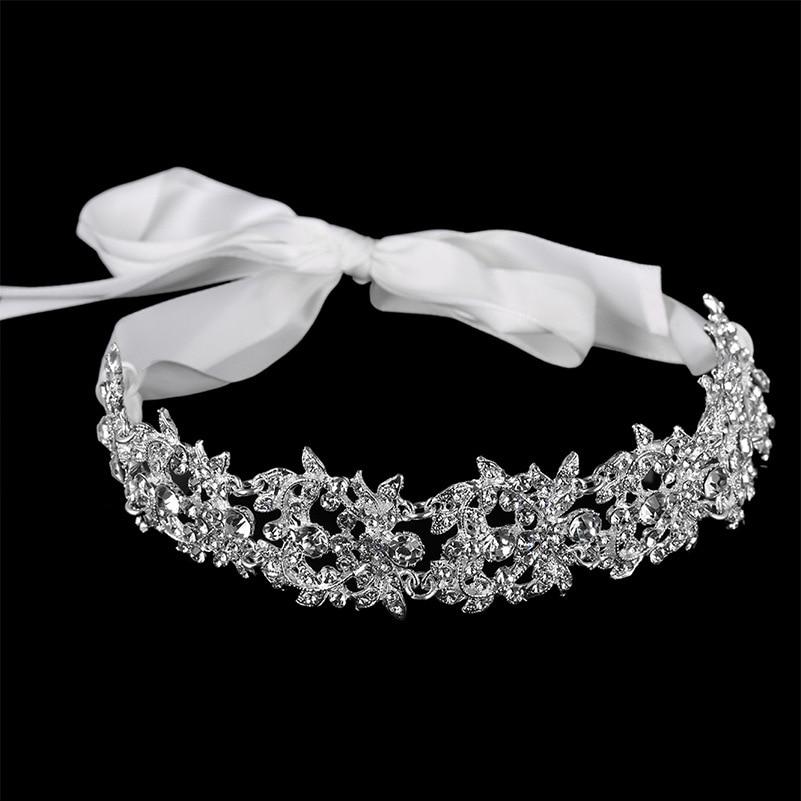 Handmade Crystal Flowers Ribbon Bridal Headband Tiara Crown Silver Plated Wedding Hair Accessories Rhinestone Women Head Pieces
