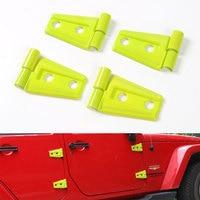 12pcs/set ABS Yellow/Green Hood Door Hinge Trim Cover Frame Decoration Fit For Jeep Wrangler JK 2 Door 2007-2016 Car Styling