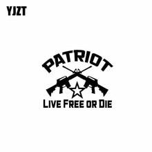 YJZT 15CM * 12.2CM vinyle décalcomanie Molon Labe drôle autocollant de voiture PATRIOT vivre libre ou mourir noir/argent C10-01077