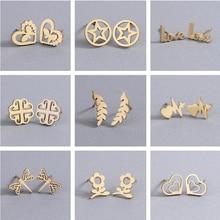 Cxwind Tiny Dolphin Stud Earrings for Women Jewelry Stainless Steel Ocean Fish Leaf Heart Star Earri