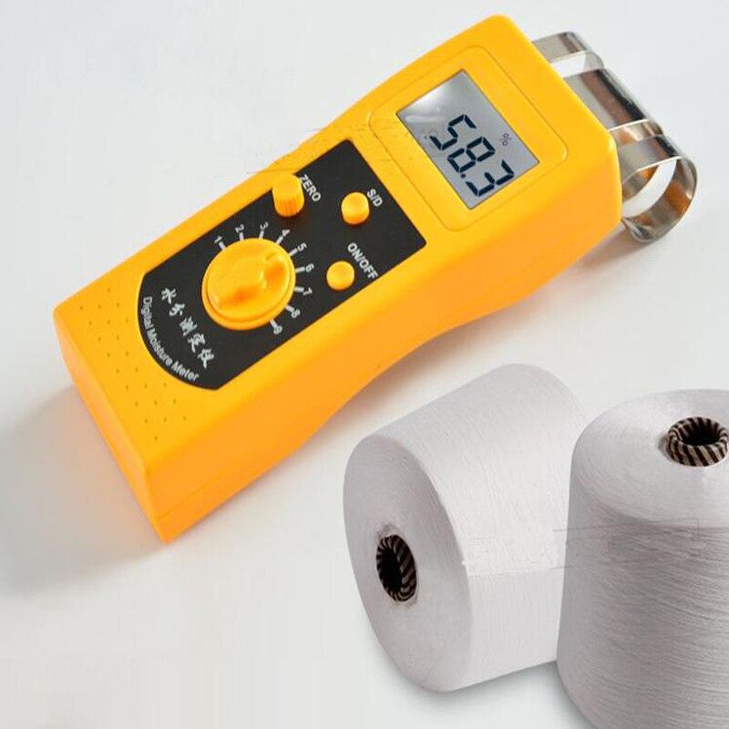 Material textil probador de humedad tela de ropa probador contenido humedad hilo de algodón recuperar la humedad instrumento de medición DM200T