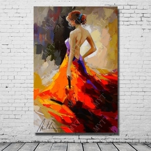 Evening  dress back  naked dress girl pictures canvas figure wall art painting for living room decoration