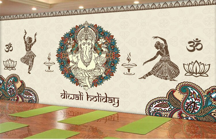 Papel pintado 3d retro chino indio Yoga Buda papel tapiz restaurante comida tema personalizado papel tapiz