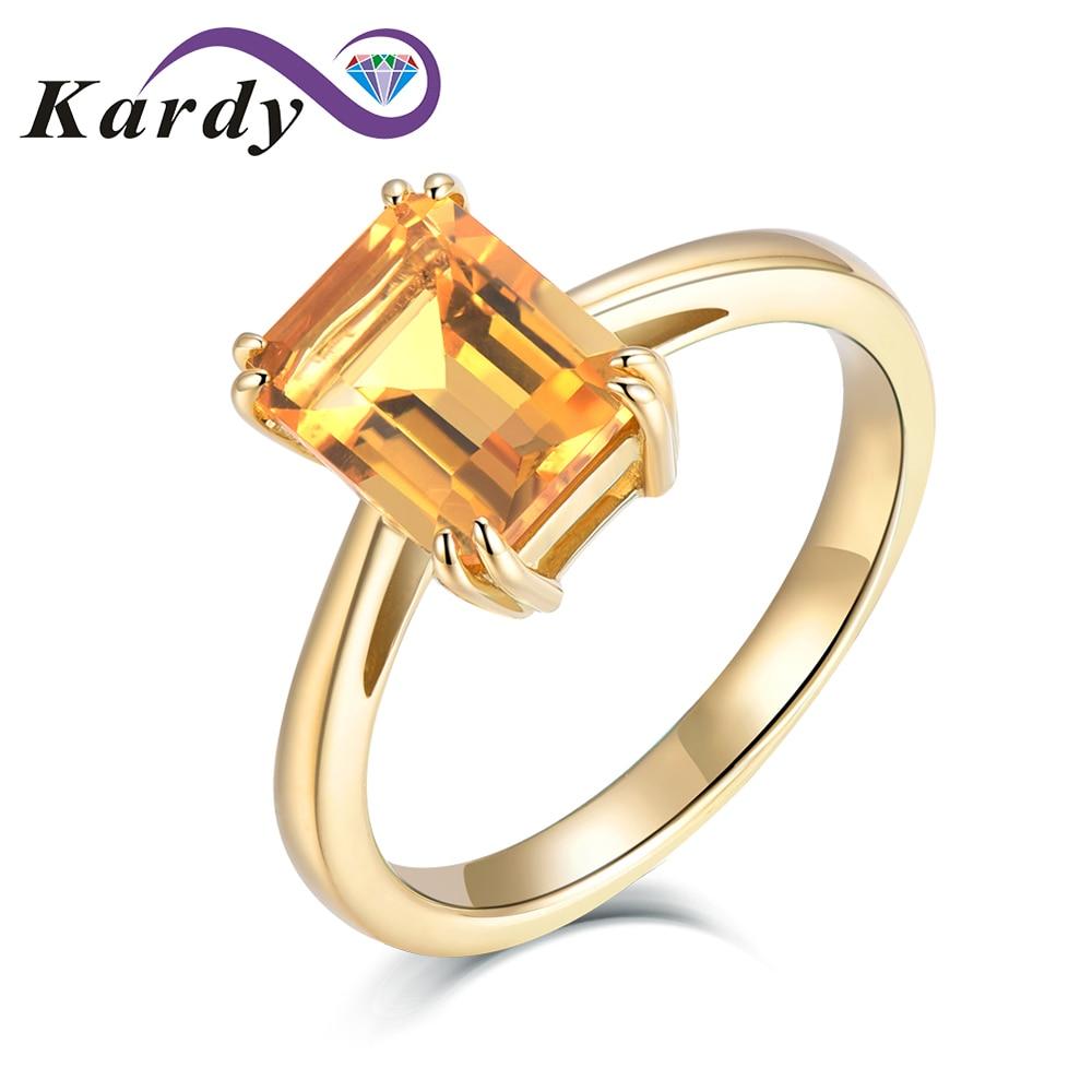 Elegante moda gema citrina natural corte octogonal sólido 14K oro amarillo promesa de boda conjunto de anillo de uso diario para las mujeres