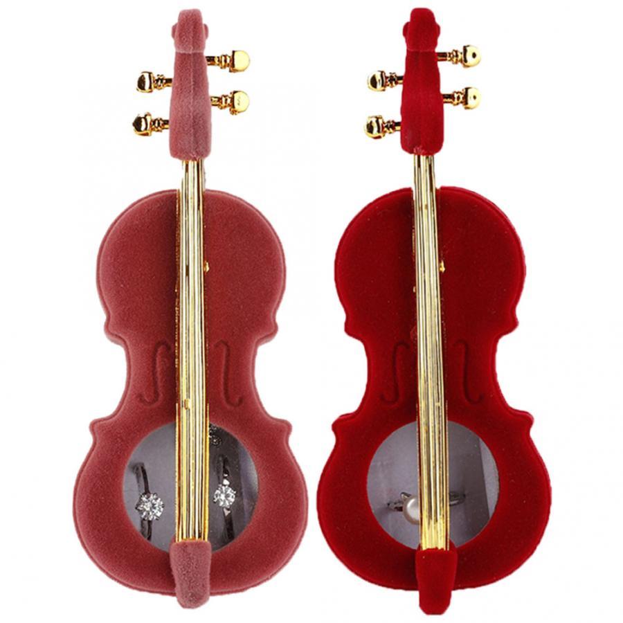 Caja de regalo para collar de franela, caja de regalo para pendientes con forma de violín, caja de almacenamiento para joyería, caja de regalo, expositor para joyero c