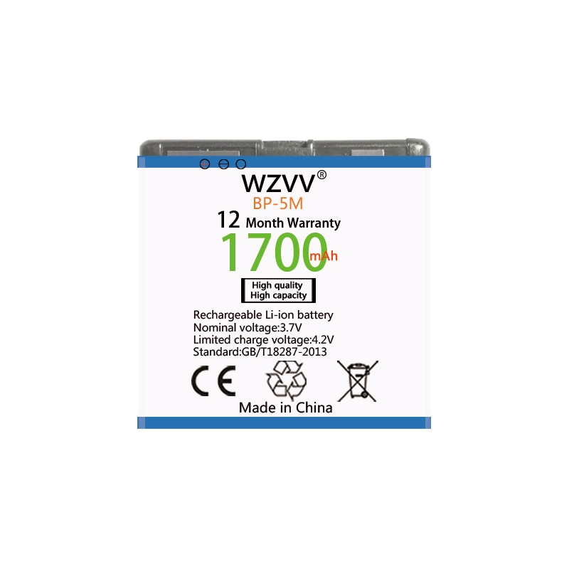 Wvzz 1700mAh Li-Ion batería BP-5M para Nokia 6220 Classic 6500 Slide 8600 Luna 6110 Navigator 5610 de 5700 de 650 de reemplazo baterías