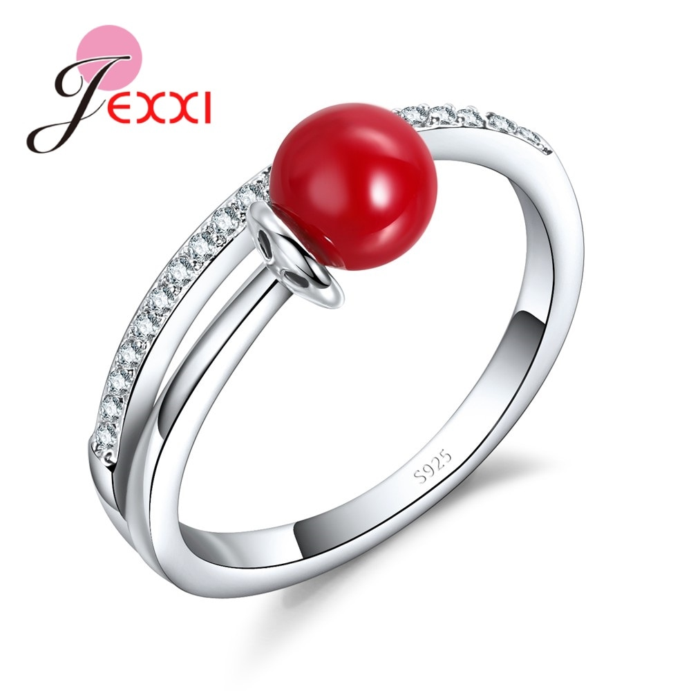 New Arrival Fashion 925 Sterling Silver Pearl Rings For Women Red Pearl CZ Party Finger Rings Wholesale Price Bague