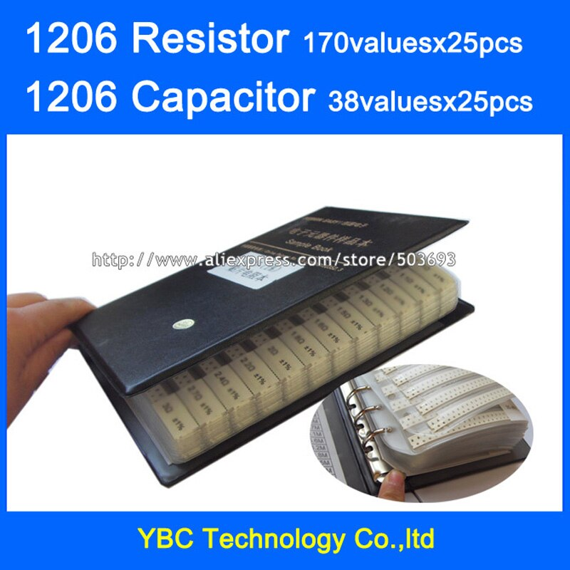 1206 SMD Resistor 0R~10M 1% 170valuesx25pcs=4250pcs + Capacitor 38valuesX25pcs=950pcs 10PF~22uF Sample Book