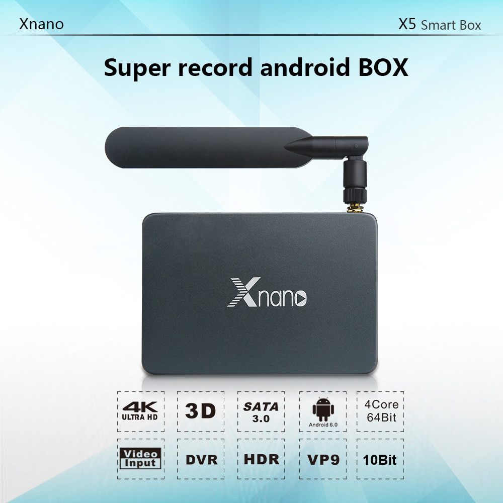 Hd entrada e registro x5 xnano android smart tv box 4k 2k 60fps ddr4 ram 1gb emmc 8gb x5 xnano