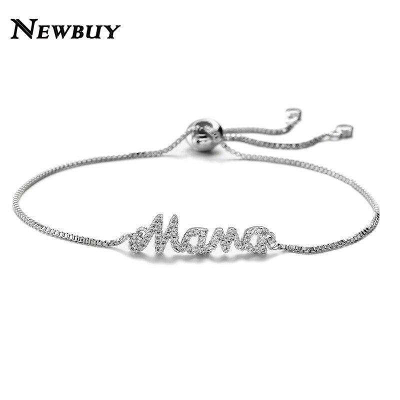 """¡Novedad de 2020! Pulsera NEWBUY de moda """"Mama"""" para Mujer, pulsera y brazalete ajustables, Pulseras para Mujer, regalo de joyería CZ Micro pavé"""