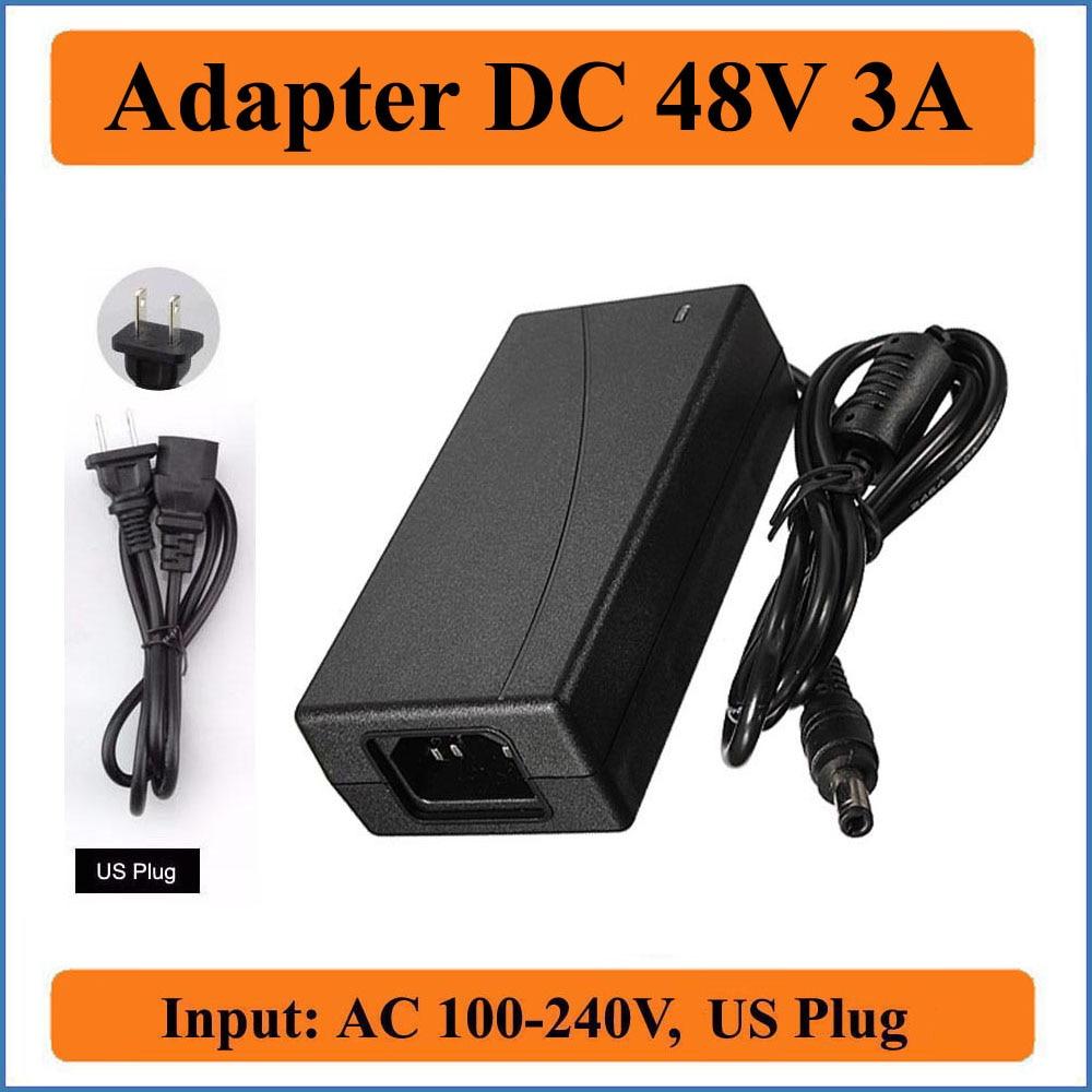 48V 3A nos enchufe de CA DC adaptador AC 110V/220V convertidor DC 48V 3000mA cargador de fuente de alimentación de 5,5mm x 2,1mm para luces de tira de LED