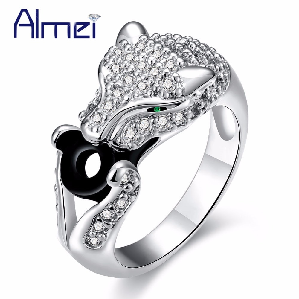 Almei, anillo con diseño de leopardo de Anime, anillo para mujer de Color plateado con piedra, anillo femenino, regalo, joyería, 5% de descuento, CR420