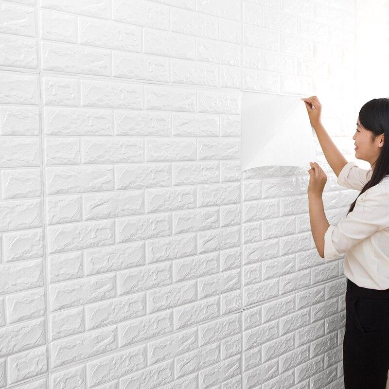 Pe espuma diy auto adhensive 3d adesivos de parede tijolo à prova dwaterproof água papel de parede quarto decoração da sua casa para crianças quarto sala estar adesivos