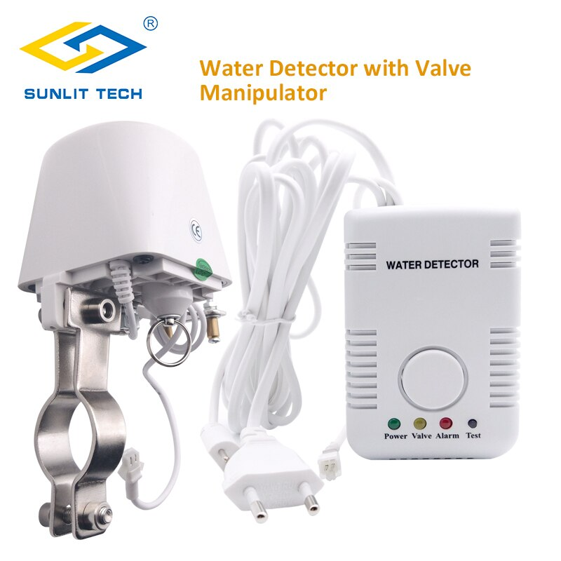 Sistema de alarma de Detector de fugas de agua inteligente para casa rusa con apagado automático DN15 DN20 válvula manipuladora Sensor de inundación de agua