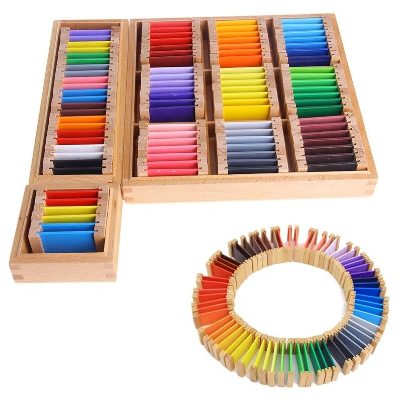 Montessori Sensorischen Material Lernen Farbe Tablet Box Holz Vorschule Spielzeug