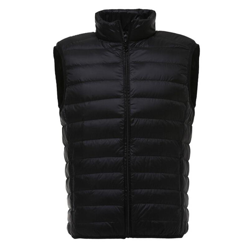 Chaleco de plumas de pato para hombre, chaqueta informal de invierno sin mangas, chalecos ultraligeros, chaleco de caballero, prendas de vestir, chaleco