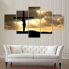 Toile affiche toile imprimée HD 5 panneaux   Décor de jésus Sexta Feira père noël maison salon, peinture murale Art, tableaux modulaires