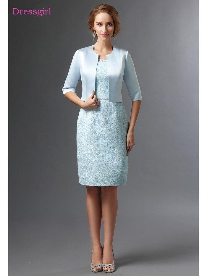 Vestidos azules para madre de la novia 2019, vestidos de encaje satinado con chaqueta de talla grande, vestidos cortos elegantes para novio, vestidos para madres, boda