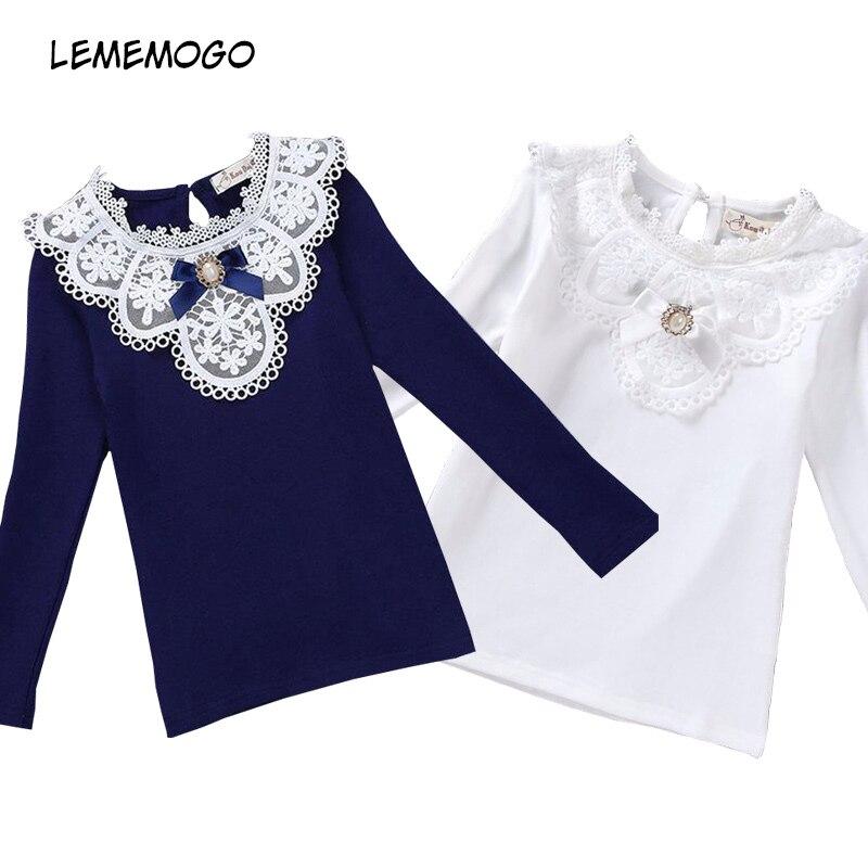 LEMEMOGO/блузки для девочек коллекция 2019 года, Весенняя кружевная школьная Блуза для девочек хлопковая одежда для маленьких девочек Детская рубашка детская одежда с длинными рукавами