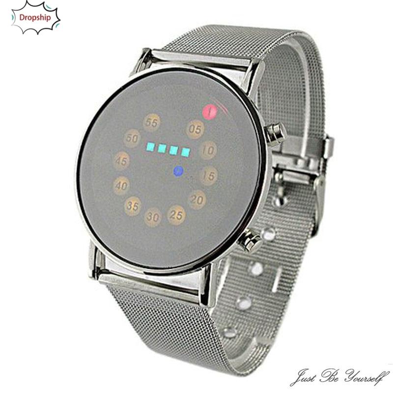 OYOKY 2019 Venta caliente rojo + amarillo + verde + azul LED Luz de acero inoxidable reloj de pulsera de moda 22cm LED Unisex Bling 18Oct20