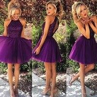 2019 short purple tulle homecoming dresses for summer 8th grade dance back to school sweet sixteen graduation teens beaded ball