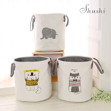Shushi nuevo Animal lindo plegable de lona ropa sucia cesta Almacenamiento de juguetes de niño cesta colcha revistas caja organizadora