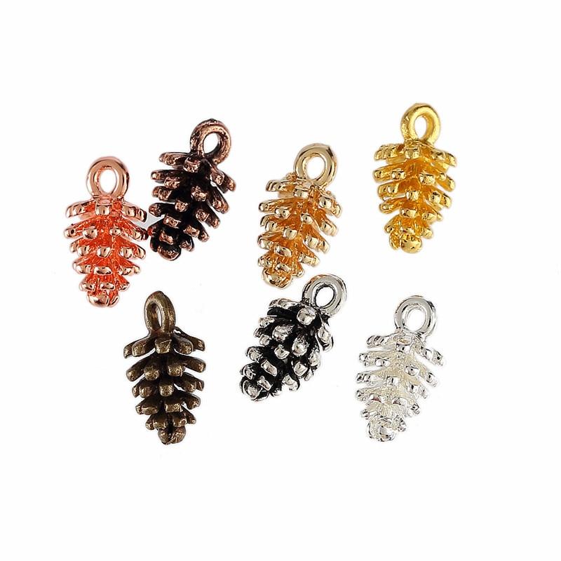 30 unids/lote de abalorios en forma de piña, colgante DIY, pulsera, collar para mujeres, hombres, joyería, hallazgos, 6*15mm, 7 colores