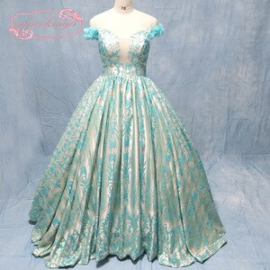 real turquoise prom dresses sparkly glitered glued sequins off the shoulder hand made flowers ball gown evening dresses gowns