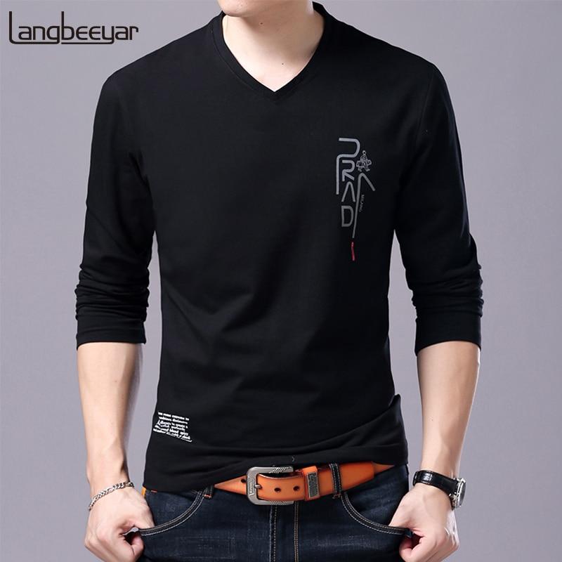 تي شيرت رجالي برقبة على شكل V وأكمام طويلة ، ملابس الشارع ، موضة كورية ، هدية لصديقها ، جديد ، 2021