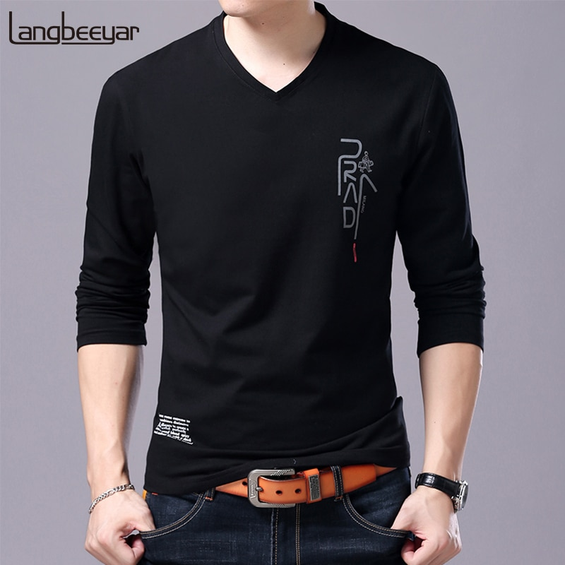 2020 nueva camiseta de marca de moda para hombre, regalo de novio coreano, camisetas de moda, ropa de calle con cuello en V, camiseta de manga larga para hombre