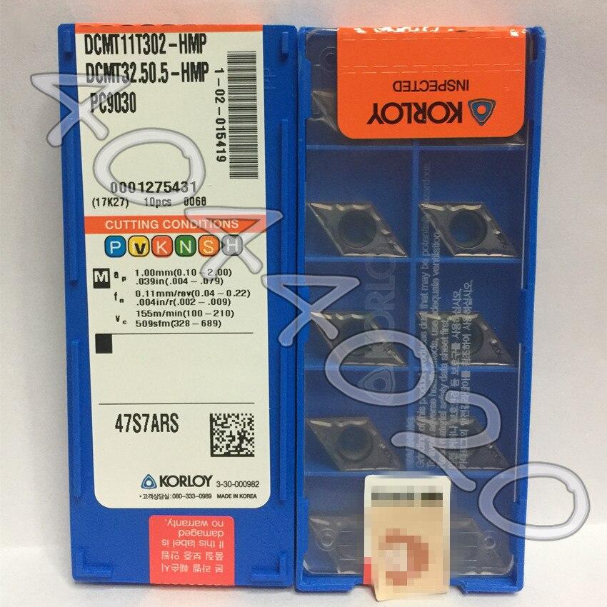 DCMT11T302-HMP PC9030 DCMT32.50.5-HMP PC9030 10 قطعة/صندوق KORLOY شفرة من الكربيد