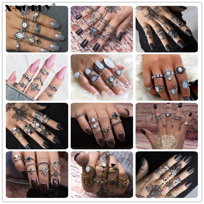 Nuevo bohemio antiguo elefante Color plata flor corazón Rosa corona tallada anillos para nudillos dedo conjunto de anillos Midi para las mujeres joyería