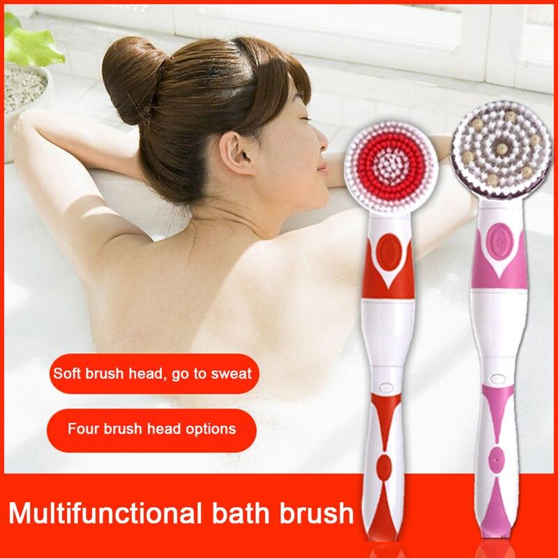 4 em 1 banheiro chuveiro elétrico corpo escova alimentado por bateria massagem limpeza volta escova rotação spa banho escova