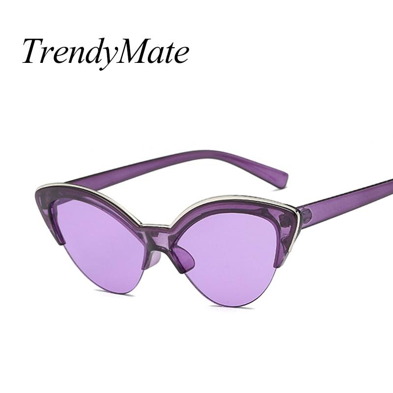 Luxury Vintage Sunglasses Woman Purple Brand Retro Shades Points Big Cat Eye Half Frame Sun Glasses Ladies Female Sunglass 5184M