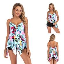 Butterfly Print Women Tankini Plus Size Swim Dress Two Pieces Floral Bathing Suit Big S-5XL Asymmetric Bikini Vintage mayokini