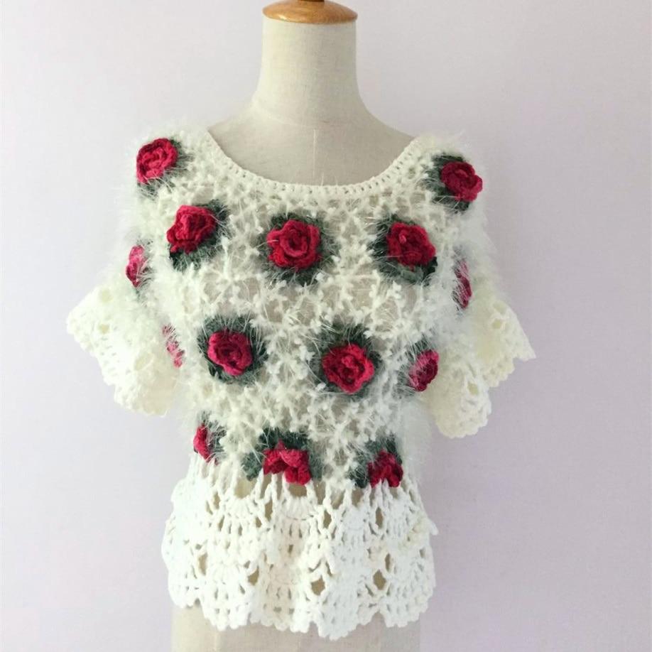 Suéteres de ganchillo hechos a mano para mujer 2020 Vintage étnico Mohair ahueca hacia fuera Rose corbatín Floral manga pulóver blanco negro 2052