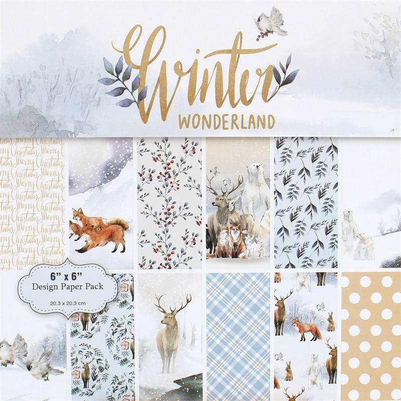 YPP CRAFT 12 Winter Wonderland Scrapbooking Pads Paper Origami Art Background Paper Card Making DIY Scrapbook Paper Craft