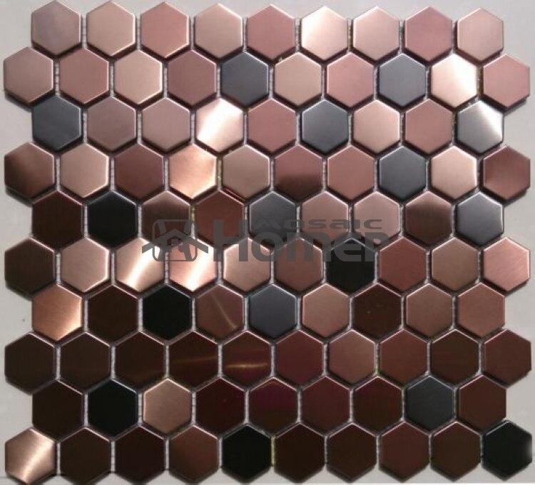 شحن مجاني ، العسل نمط الأرجواني الفولاذ المقاوم للصدأ قرميد فسيفساء معدني الأرجواني مسدس البلاط المعدني لبلاط الجدار والأرض
