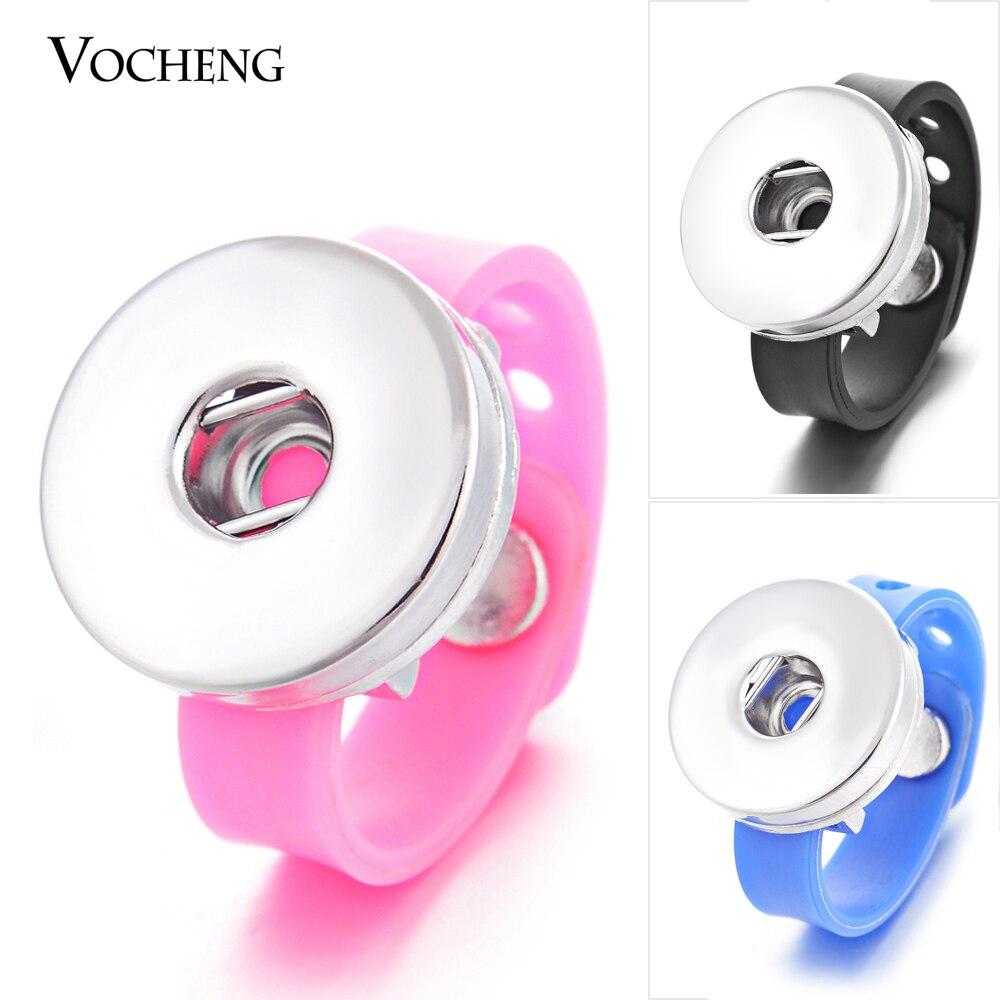 ¡Venta al por mayor! 10 unids/lote Vocheng Ginger botón anillo 18mm 11 colores silicona intercambiable joyería NN-341 * 10 envío gratis