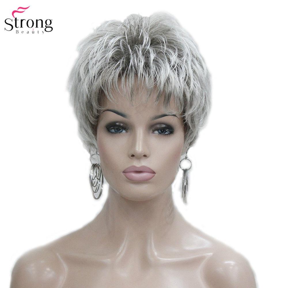 StrongBeauty mujeres peluca corta recta corte pixie Natural Hai sintético sin tapa peluca gris/rojo