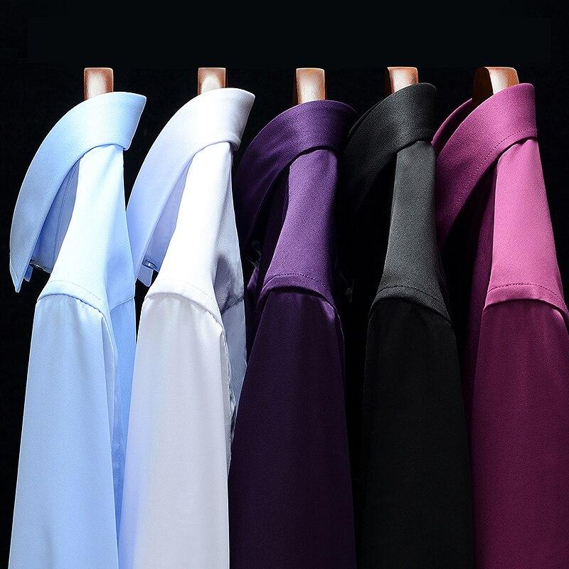 Camisas de vestir de manga larga ajustadas para negocios informales de Color puro para trabajo Social azul marino verde oscuro rojo púrpura Camisa